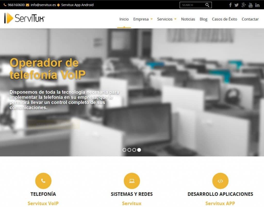 Captura de pantalla de la Web Corporativa de Servitux