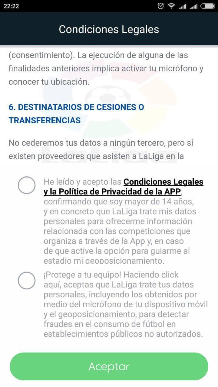 Captura de pantalla de la Política de Privacidad de la Aplicación de La Liga